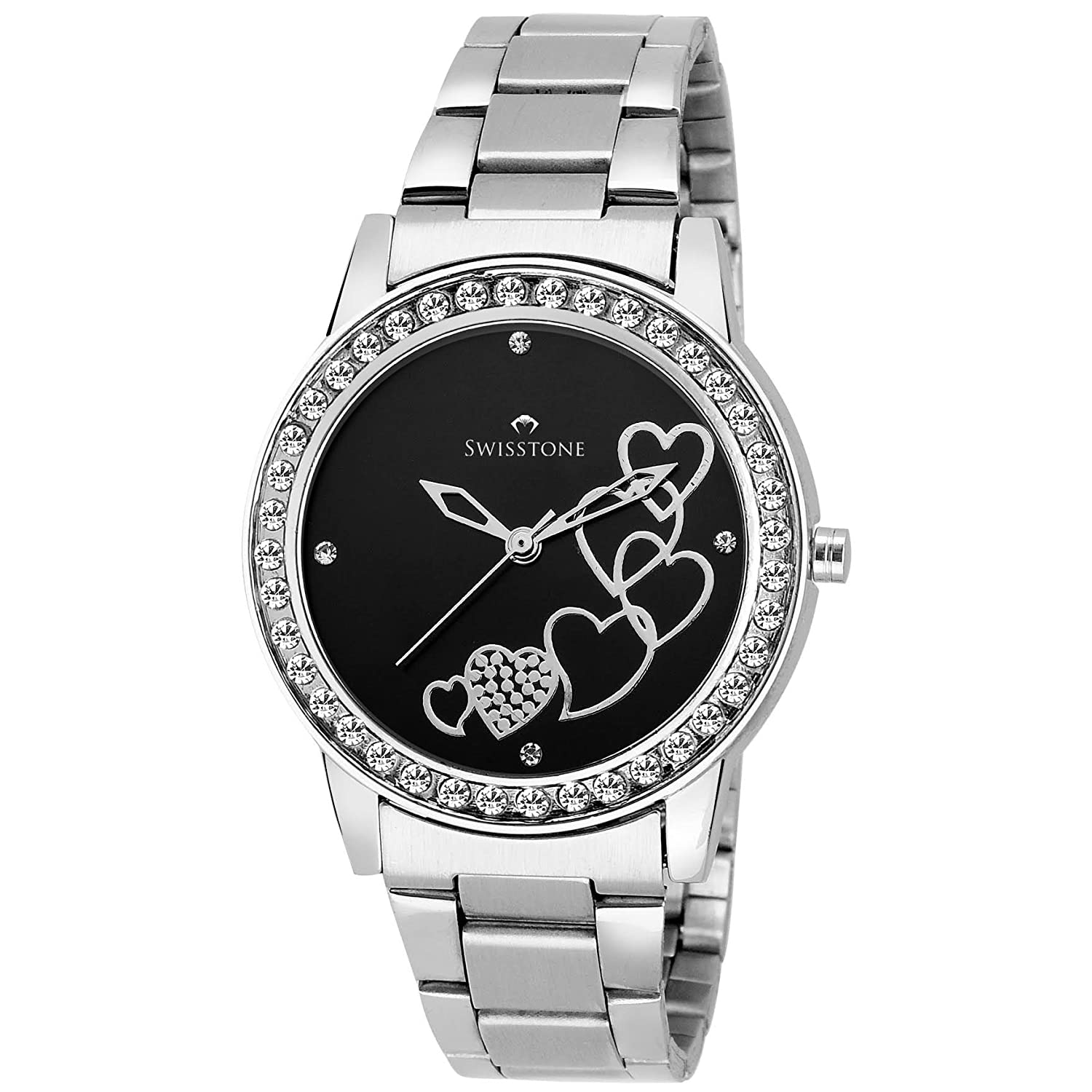 Swisstone Analogue Black Dial Women'S And Girl'S Watch-Hart236-Blk-Ch