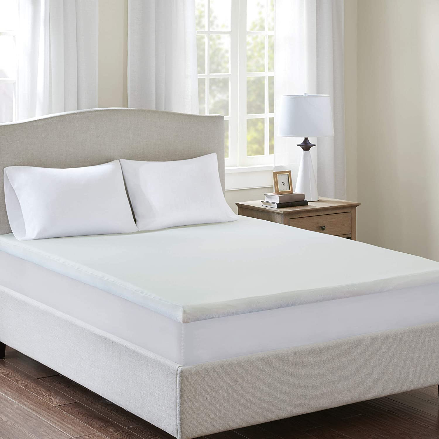"""Flexapedic by Sleep Philosophy All All Seasons 3"""" Cooling-To-Warming Reversible Memory Foam Mattress Pad Topper Cover Protector, Twin Size, White"""
