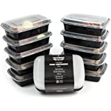 California Home Goods Compartment Reusable Food Storage Containers with Lids, Set of 10