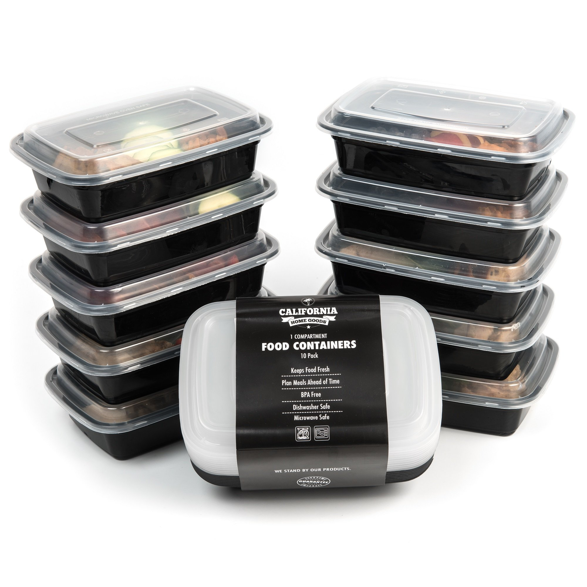 Reusable Food Containers, 1 Compartment Lunch Containers, Meal Prep Container, 10 Pack Meal Prep Containers, Stackable Meal Storage Containers, Plastic Meal Prep Containers, Meal Containers With Lids