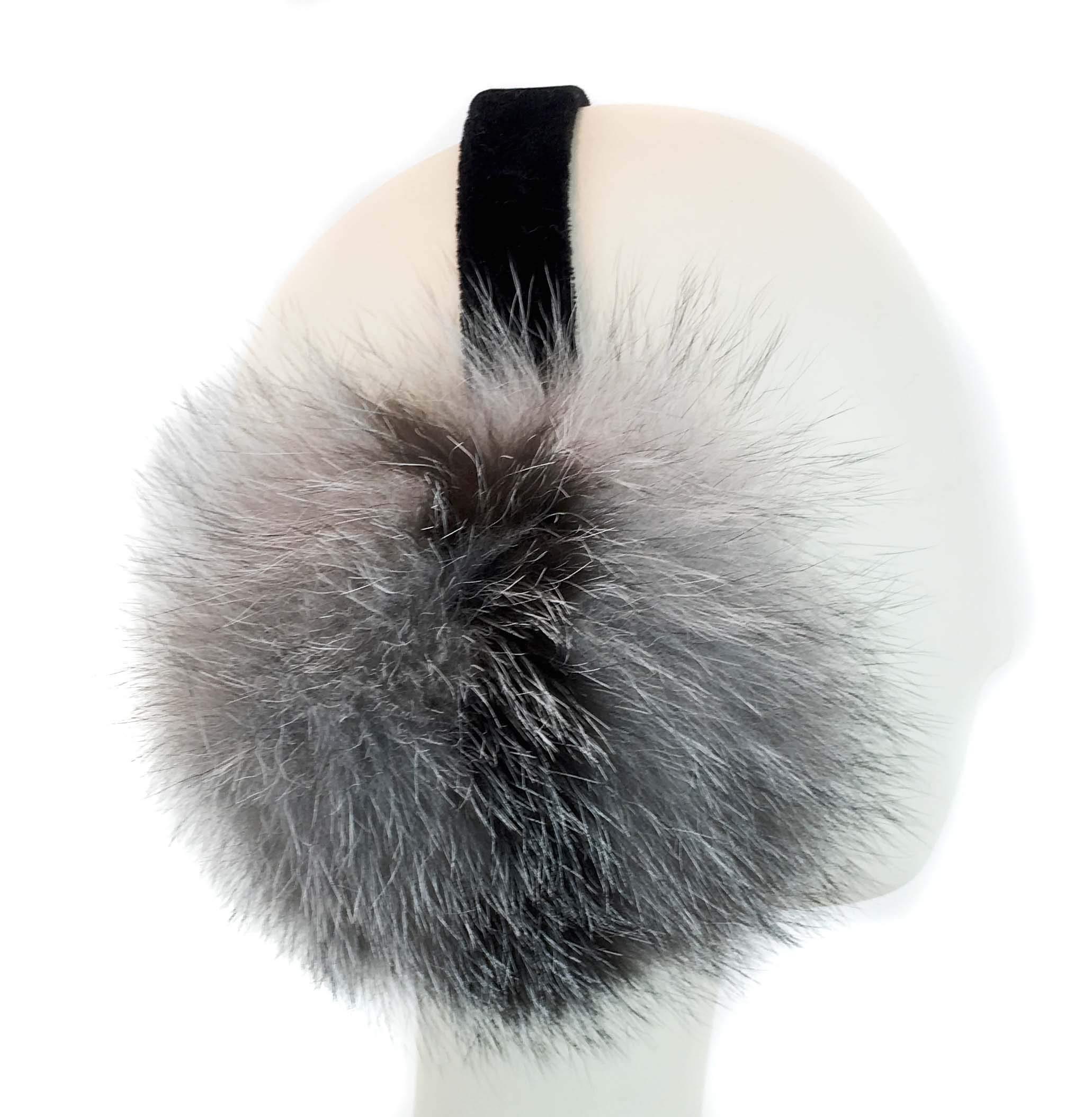 Surell Fox Fur Earmuff with Velvet Band - Winter Ear Muffs - Cold Weather Head Warmer (Stripe)