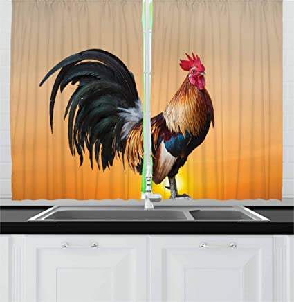 Ambesonne Rooster Kitchen Curtains, Animal Cockerel On Sunrise Farmhouse  Harvest Season Rural Pastoral Nature Scenery