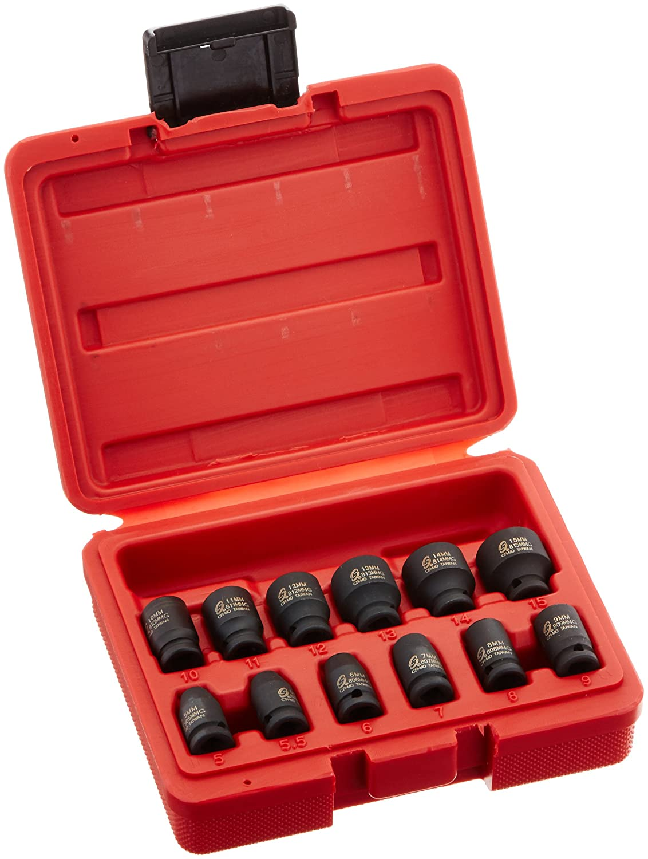 Sunex 1822 1/4-Inch Drive Magnetic Impact Socket Set Metric, 12-Piece Sunex International