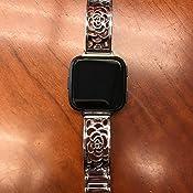 Amazon.com: Silver Metal Bracelet For Fitbit Versa Watch