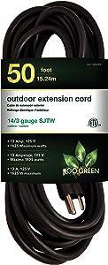 GoGreen Power GG-13850BK - 14/3 50' SJTW Outdoor Extension Cord - Black