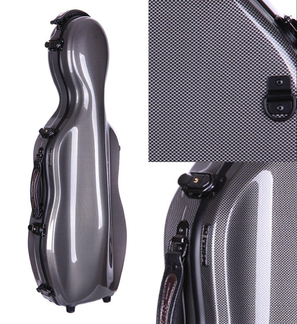 Tonareli Cello-shaped Fiberglass Viola Case w/ Wheels - Special Edition Graphite VAF1015