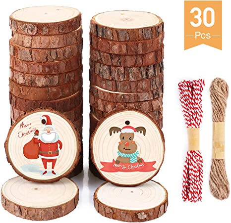 36 Pcs 2.4-2.8 Wood Slice Ornaments Unfinished Wood Slices Wood Ornament for Christmas Decorations Clearance and Christmas Ornaments