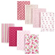 Hudson Baby Baby Layered Flannel Burp Cloth, Floral Stripes and Owls 8 Pack, One Size