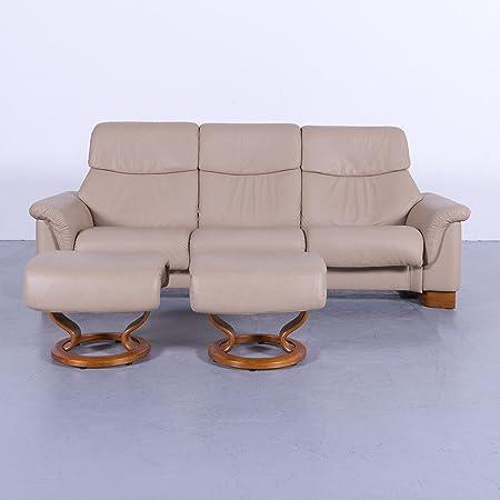 Ekornes Stressless Paradise Leder Sofa Garnitur Beige Dreisitzer Couch Hocker Echtleder Funktion 6016 Sanaa Amazon Co Uk Kitchen Home