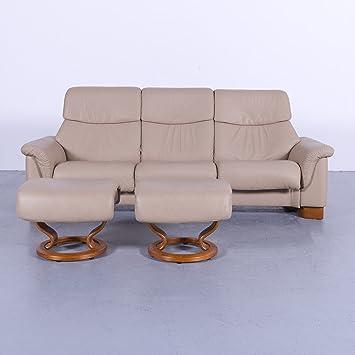 Ekornes Stressless Paradise Leder Sofa Garnitur Beige Dreisitzer