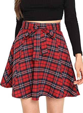 NEW Womens Black green red tartan Check cheerleader skirt Party Casual plus size