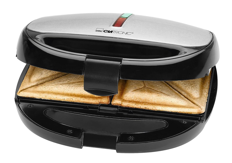 Clatronic ST/WA 36703in1Sandwich Maker, Piastra per waffle, Grill a contatto 3piastre con rivestimento antiaderente, Nero Inox