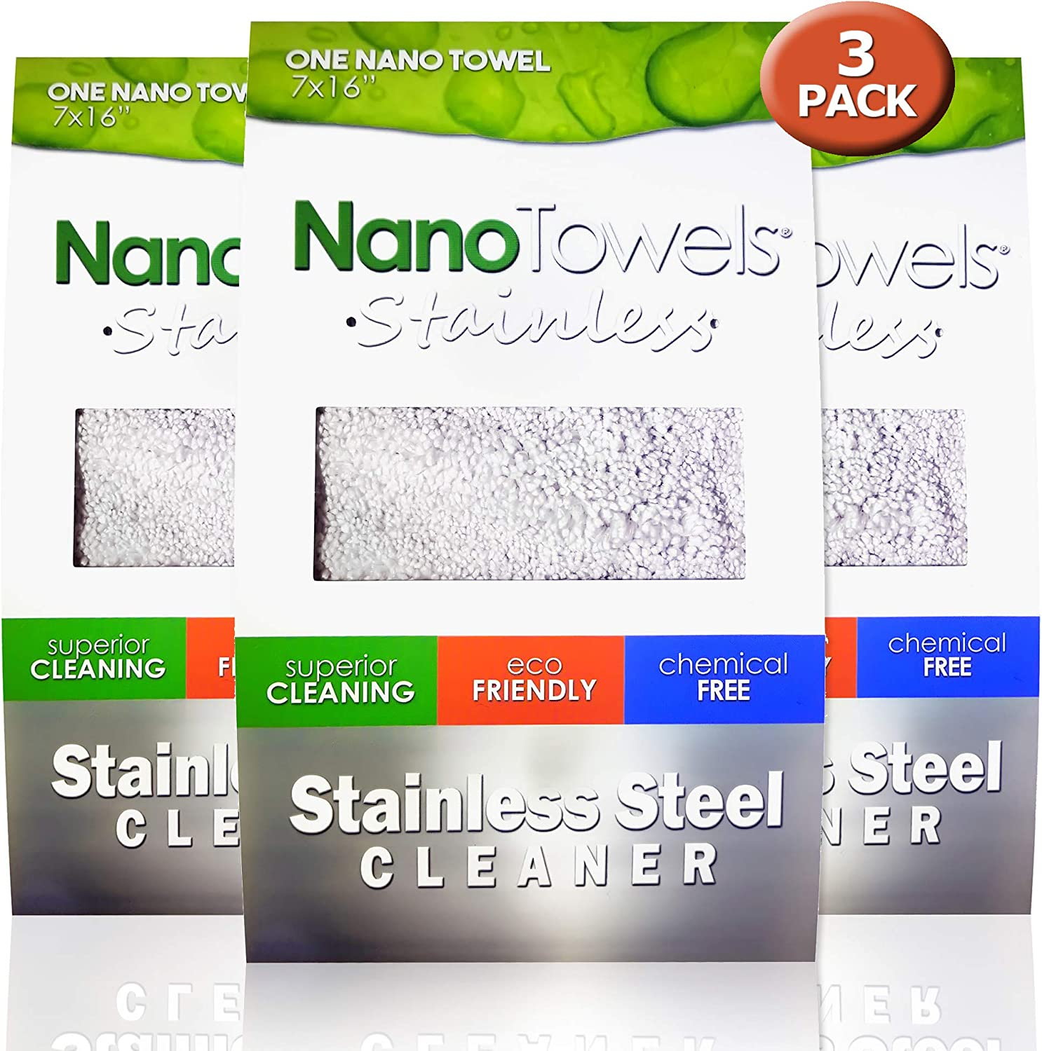 "Nano Towels Stainless Steel Cleaner 3-PACK | The Amazing Chemical Free Stainless Steel Cleaning Reusable Wipe Cloth | Kid & Pet Safe | 7x16"" (3)"