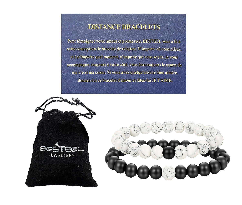 BESTEEL Distance Bracelet Pierre Perles Bracelets Hommes Femmes Couple Blanc Turquoise Amour Bracelet Relation avec Carte Proverbes d'Amour, Réglable B032KP