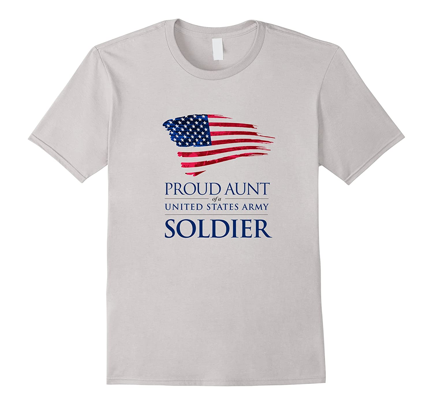 Proud Aunt of a US Army Soldier American Flag T-Shirt-TD