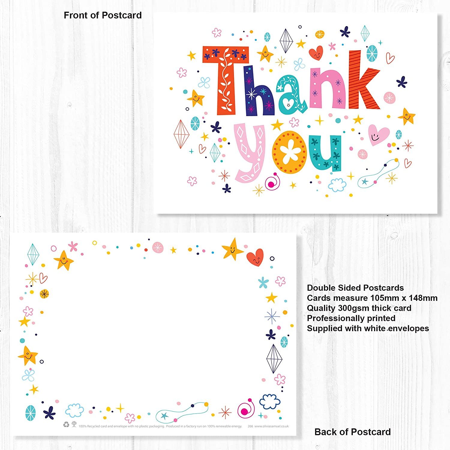 A6 Postcard Style with Envelopes 20 x Funky Text Recycled Thank You Cards by Olivia Samuel