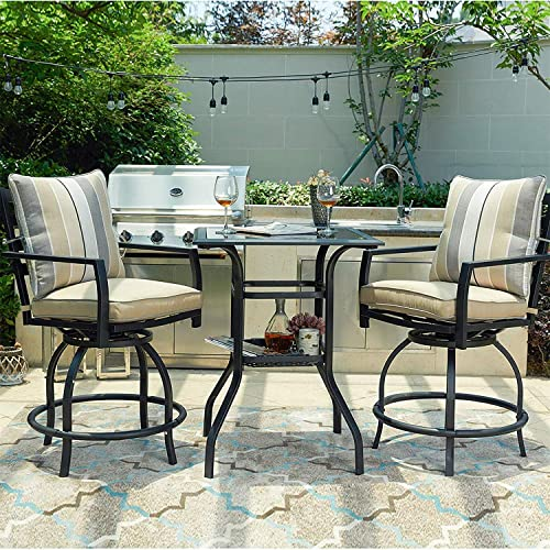 PatioFestival 3 Pcs Outdoor Height Bistro Chairs Set Patio Swivel Bar Stools with 2 Yard Armrest Chairs and 1 Glass Top Table,All Weather Steel Frame Furniture Chairs Table Set