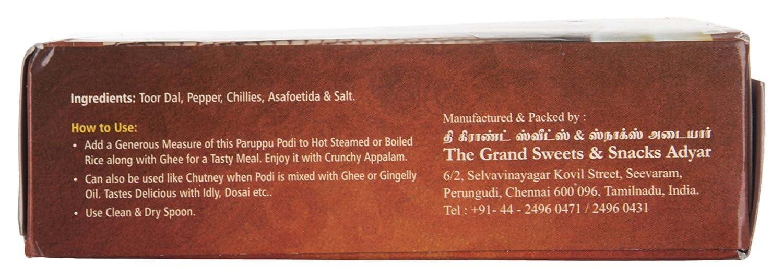 The Grand Sweets & Snacks Adyar Chennai Paruppu Podi (200 g)