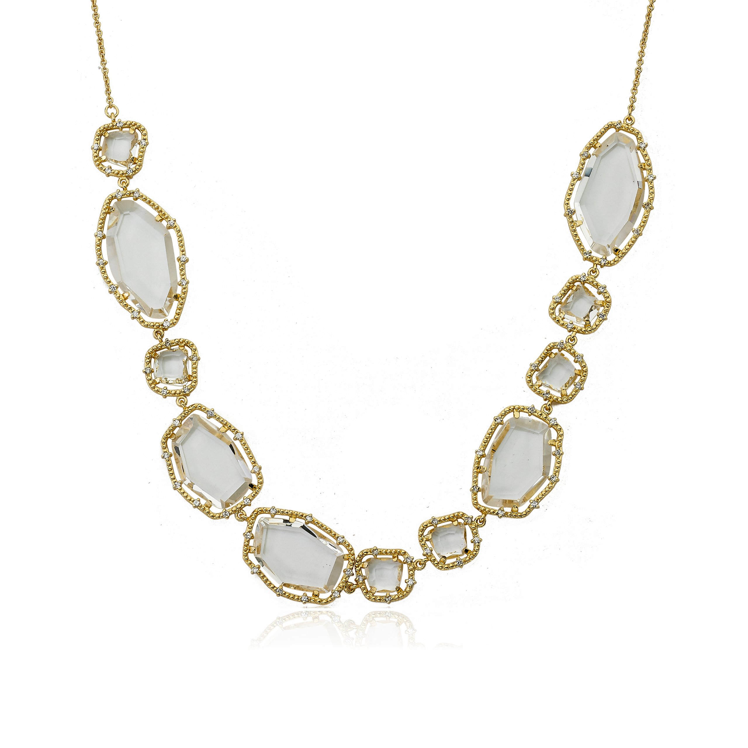 Riccova Sliced Glass 14k Gold-Plated CZ (Prong Setting) Clear Sliced Stones Detailed Necklace 18''/2'' by Riccova