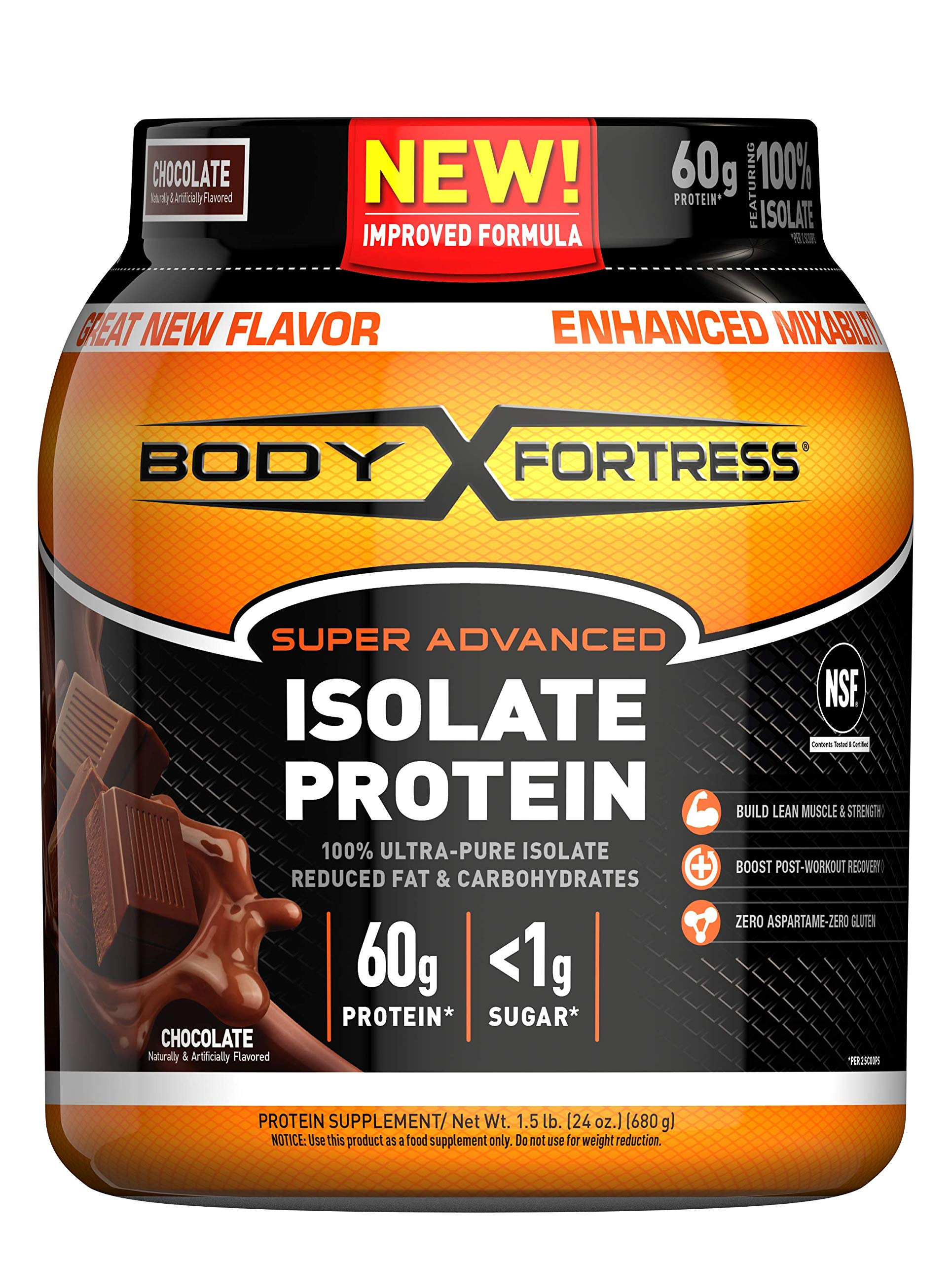 Body Fortress Super Advanced Whey Protein Isolate Powder, Gluten Free, Chocolate, 1.5 lbs (Packaging May Vary) by Body Fortress