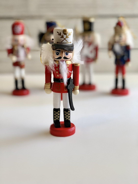 Navidad cascanueces soldados - Cascanueces de madera adorno Set, Set de 5 figuras Navidad cascanueces: Amazon.es: Hogar