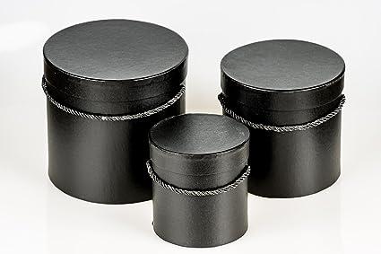 Juego de 2 cajas redondas con cordel, caja con tapa, caja con color liso