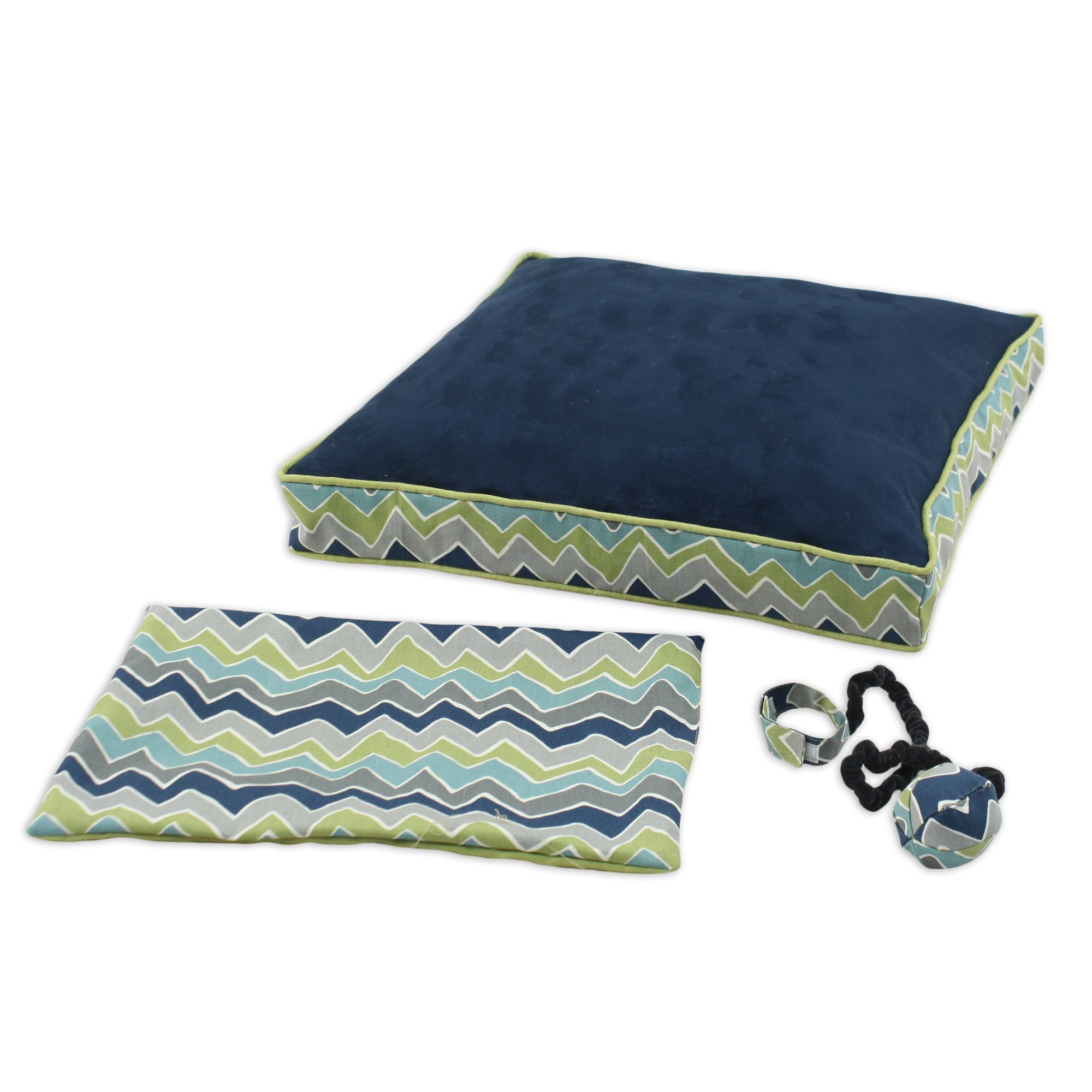 Brite Ideas Living Passion Suede Navy See Saw 23 by 23-Inch Boxed Pet Bed with Versatile Cover and Wrist Toy, Set of 3