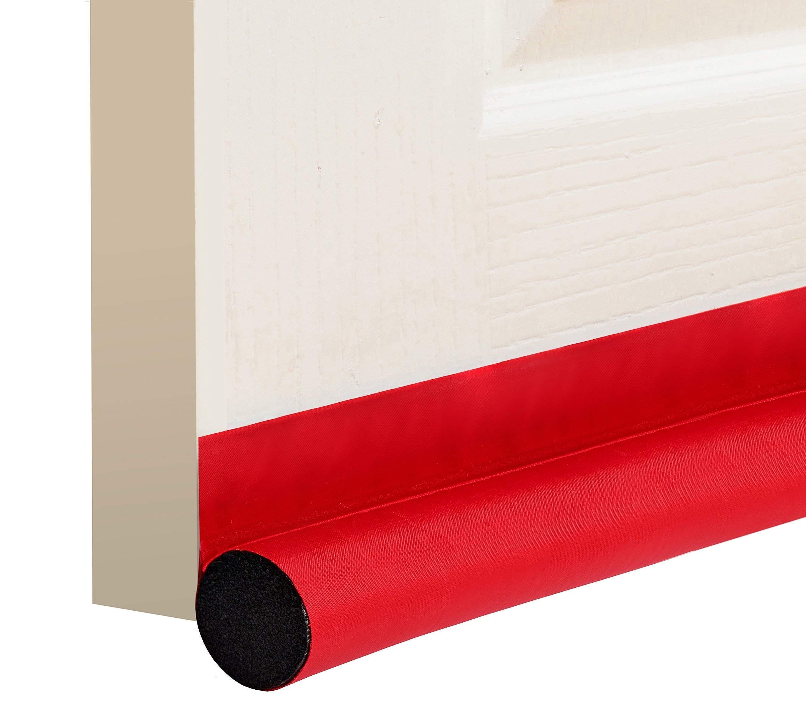 """deeToolMan Door Draft Stopper 36"""" : One Sided Door Insulator with Hook and Loop Self Adhesive Tape Seal Fits to Bottom of Door/Door Weather Stripping(Red)"""