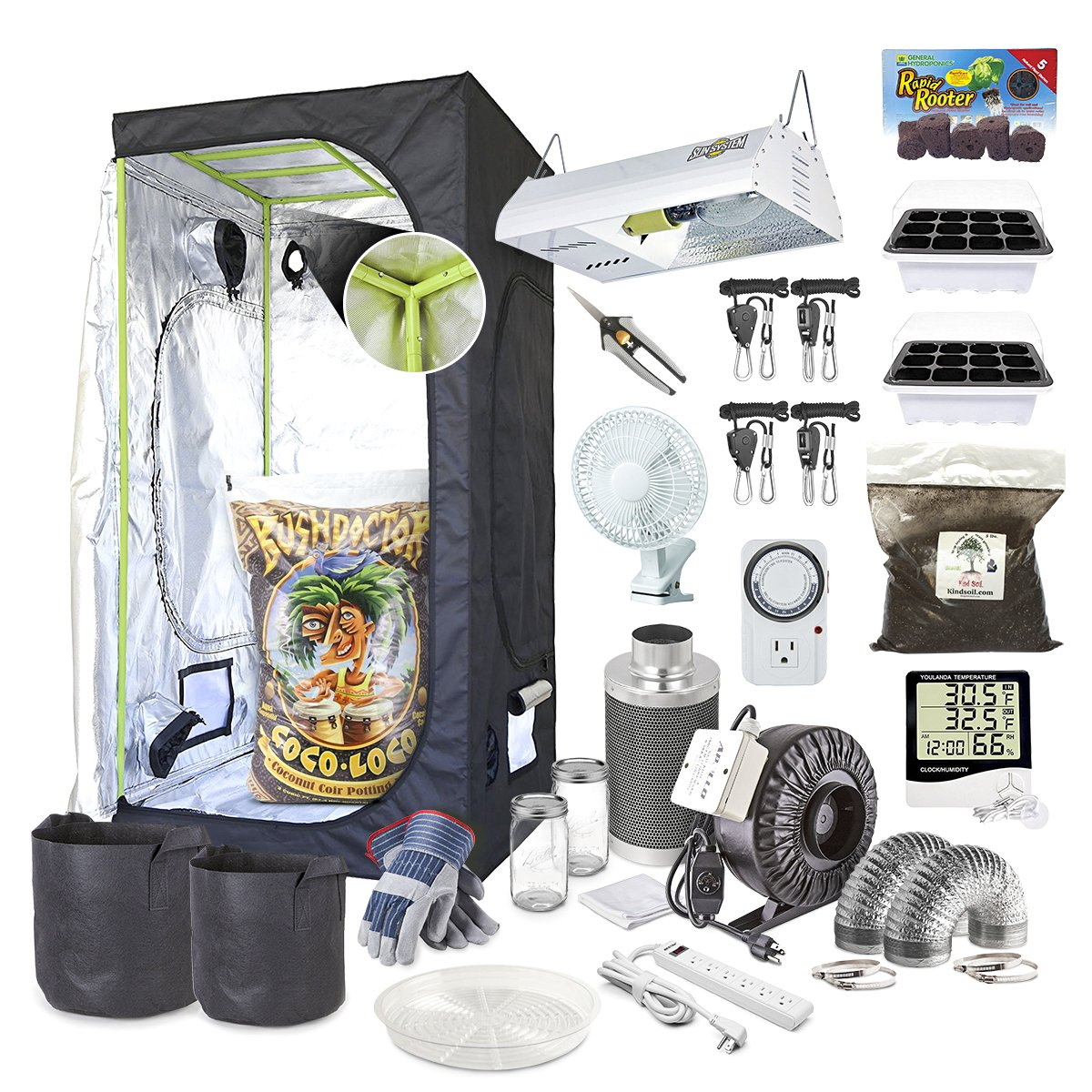 The Bud Grower 5×5- Complete Hydroponics Grow Tent Kit