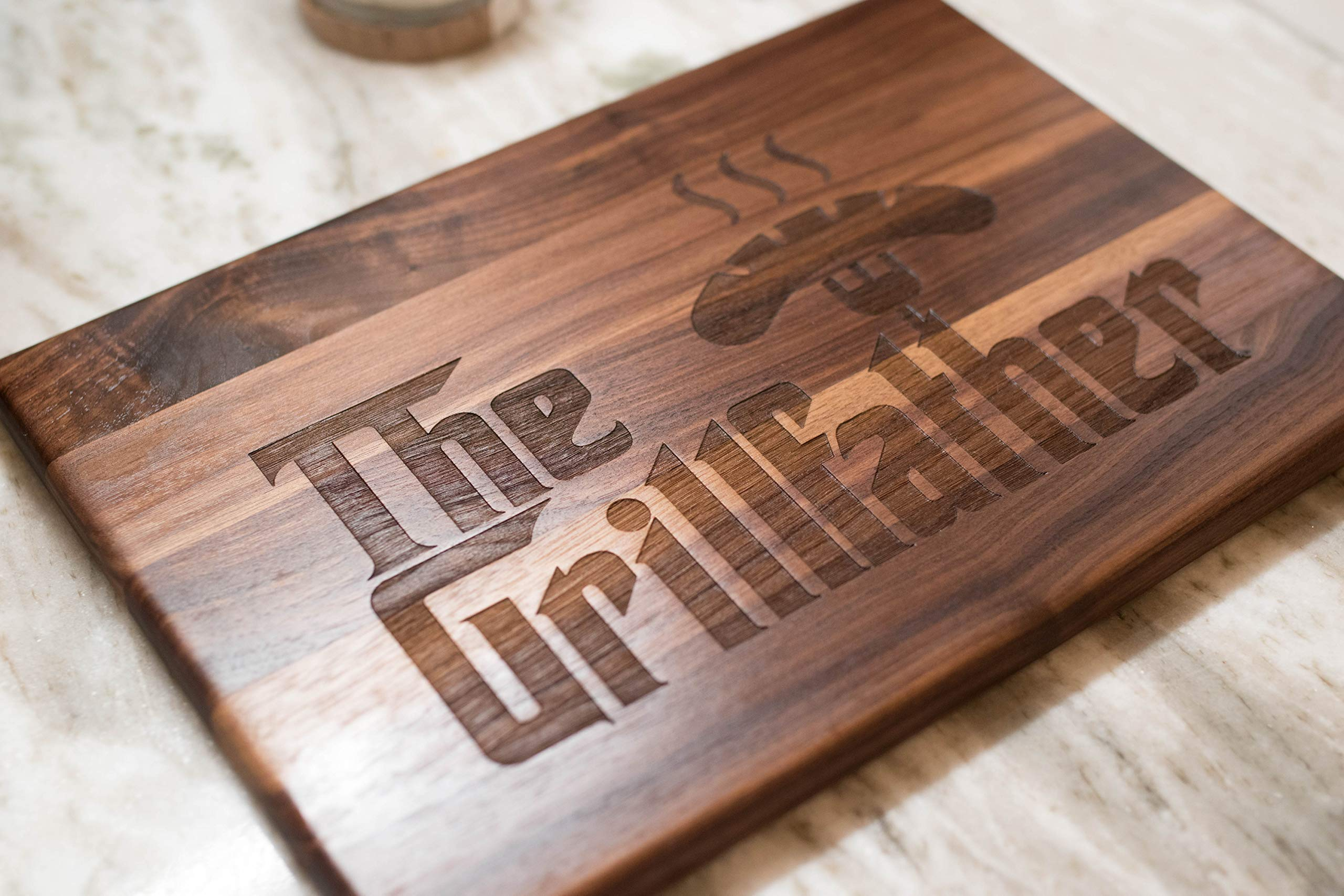 Father's Day Gift for Dad - USA Made Walnut Wood Cutting Board - The Grillfather Cutting Board is a perfect gift for Dad, Stepfather gift, and grandfather gift. by NakedWoodWorks (Image #1)