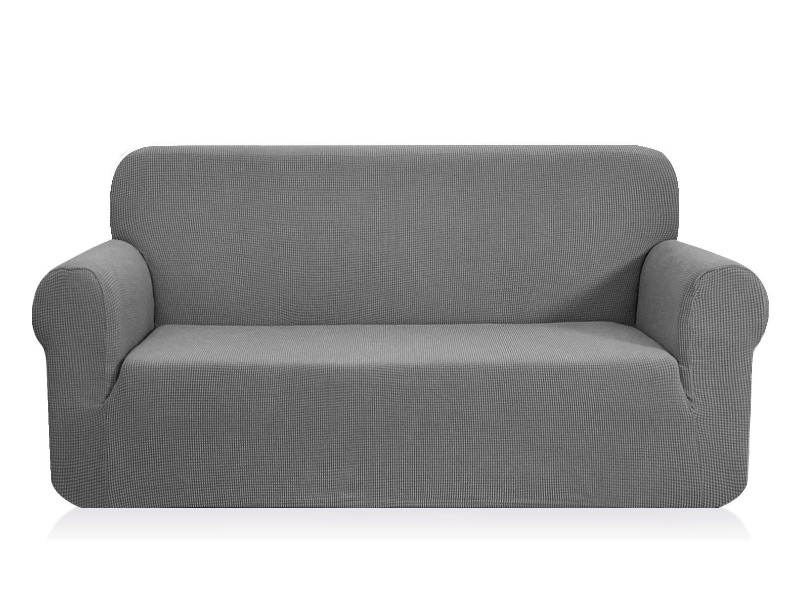 CHUN YI Jacquard Sofa Covers 1-Piece Polyester Spandex Fabric Slipcover (Loveseat, Light Gray)