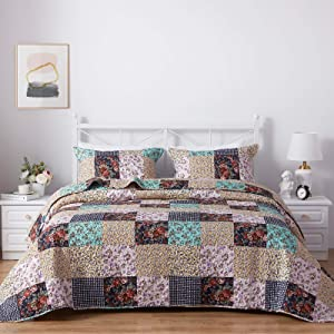 SunStyle Home 2 Piece Bed Quilt Set Twin Size, Lightweight Microfiber Soft Coverlet Reversible Quilted Pattern Bedspreads Comforter Set for All Season (1 Quilt + 1 Sham, Vintage Floral Pattern)