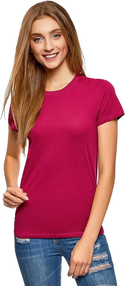 oodji Ultra Mujer Camiseta de Algodón con Cuello Redondo, Rosa, ES 34 / XXS: Amazon.es: Ropa y accesorios