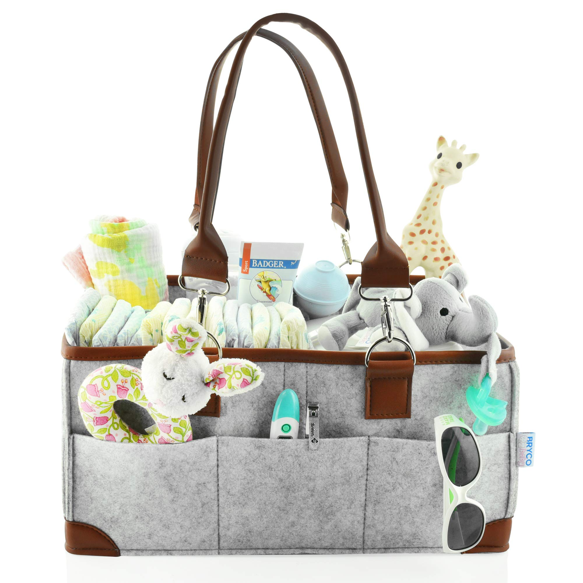 Baby Diaper Caddy Organizer - Portable Storage Basket - Essential Bag for Nursery, Changing Table and Car - Good for Storing Diapers, Bottles, Baby Wipes, Baby's Toys Pacifiers-Gray Leather Handle by Bryco Baby