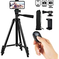 Hitchy Cell Phone Tripod 42 Inch 106cm Aluminum Lightweight Phone Tripod for Apple Samsung Huawei Smartphone, Camera with Bluetooth Remote Control, Carrying Bag and Gopro Mount (Black)