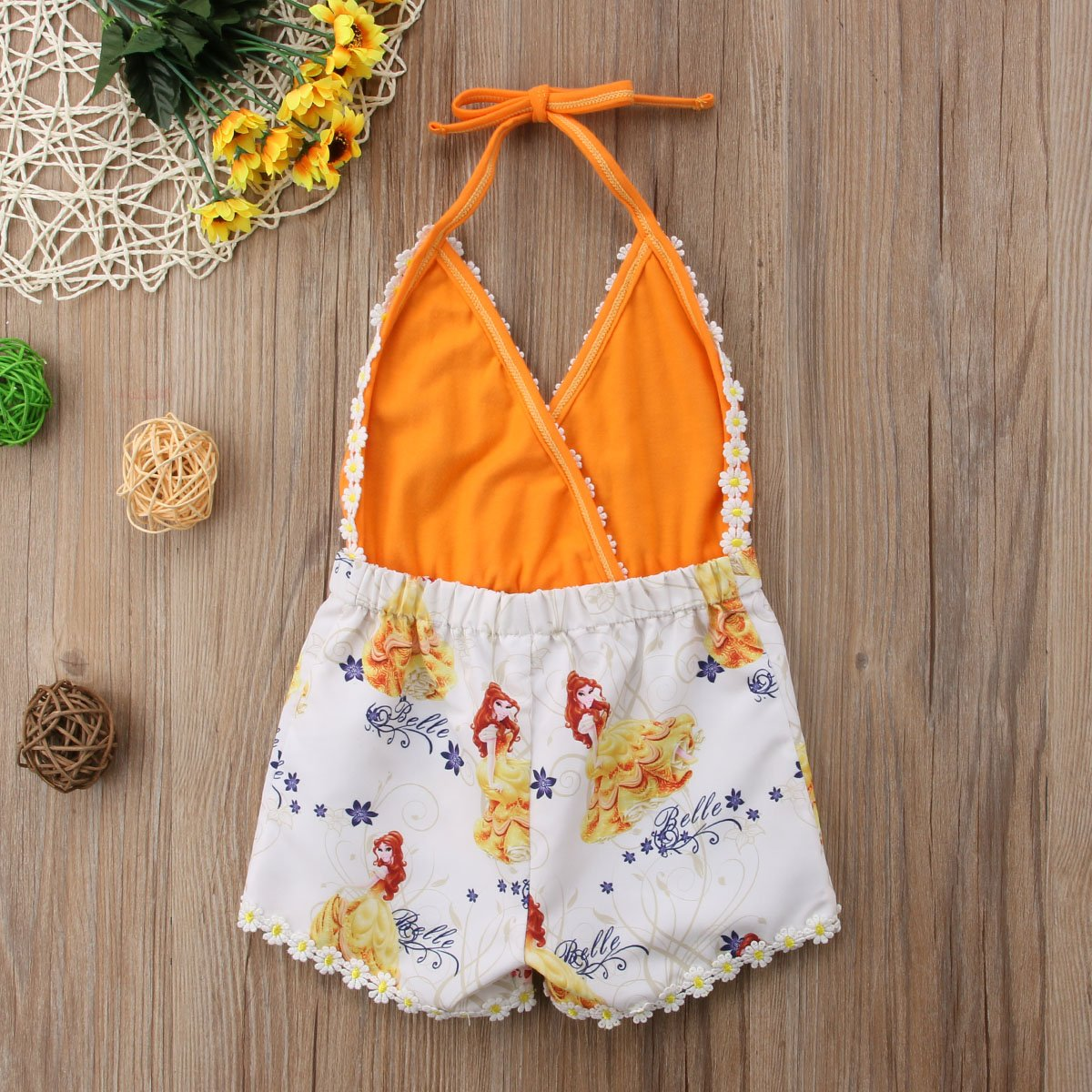 Wallarenear Toddler Newborn Baby Girl Summer One Pieces Floral Lace Romper V-Neck Jumpsuit Sunsuit Clothes