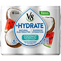 V8 +Hydrate Plant-Based Hydrating Beverage, Coconut Watermelon, 8 Fl Oz. Can, 6...
