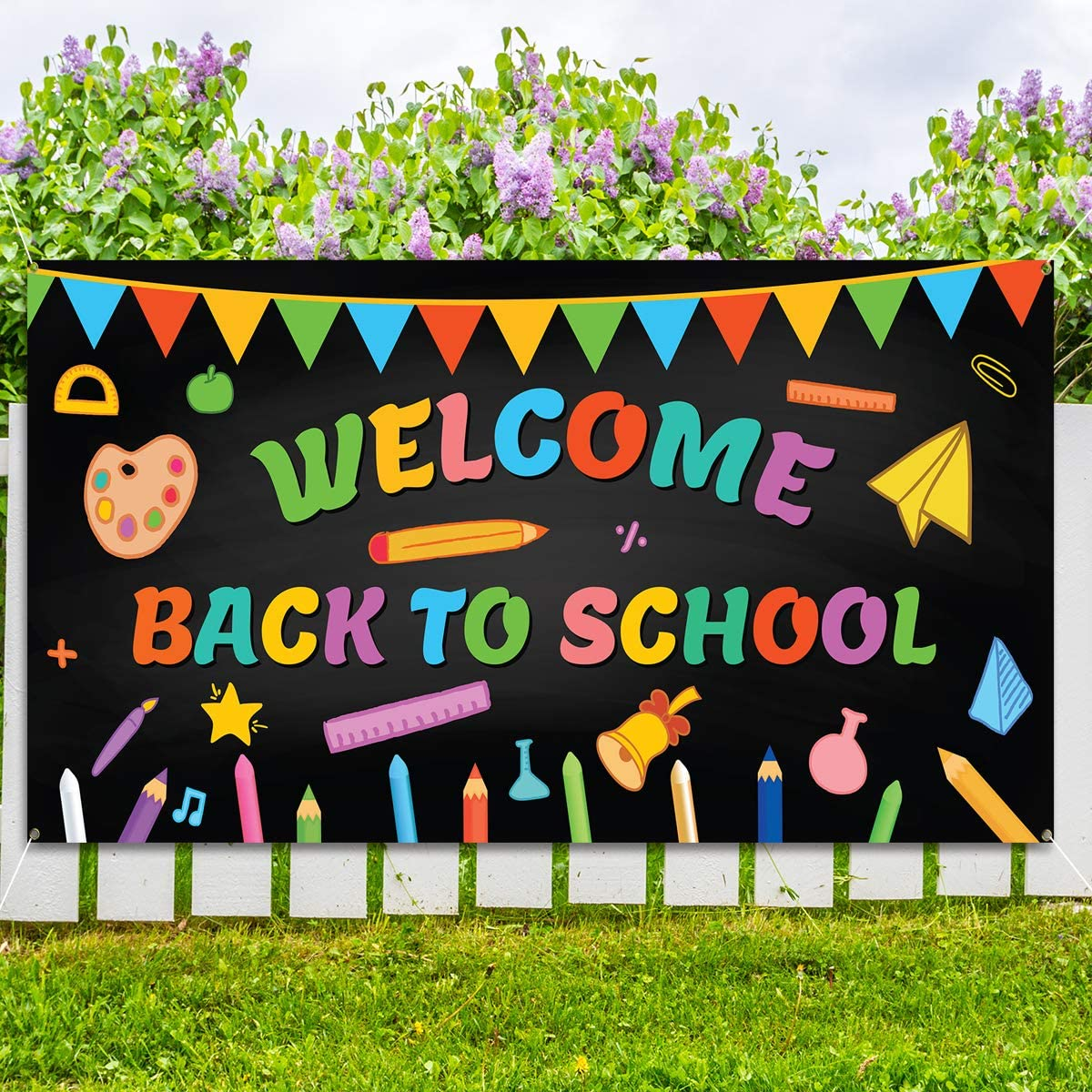KMUYSL Welcome Back to School Banner - Extra Large Fabric 79