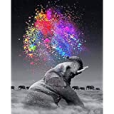13 12\u201d x 9 34\u201d Finished Beautiful Diamond Painting Elephant and baby