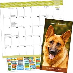 German Shepherds Calendar 2021 Bundle - Deluxe 2021 German Shepherds Pocket Planner Calendar with Over 100 Calendar Stickers (German Shepherds Gifts, Office Supplies)