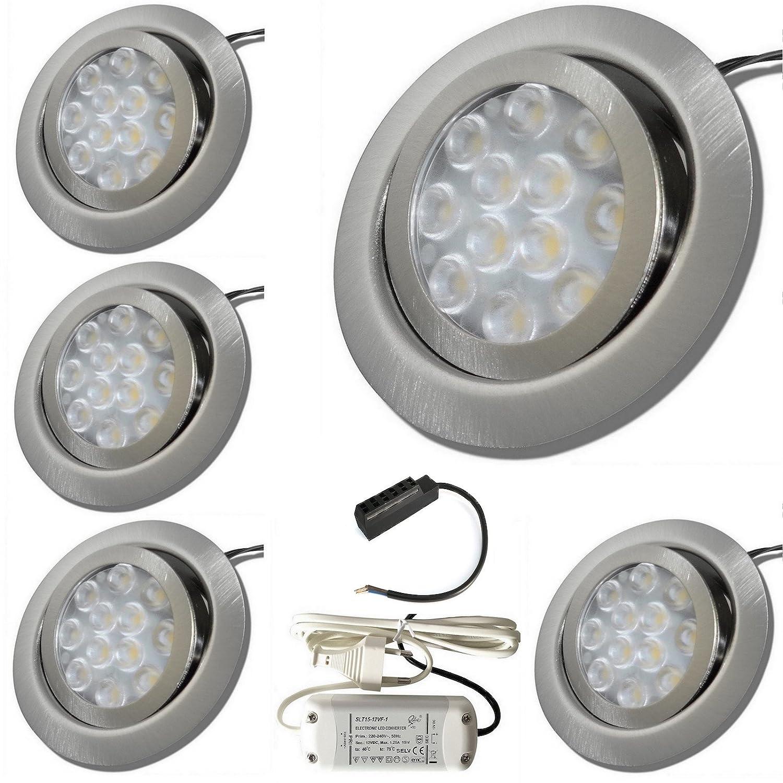 5 Stück 3 Watt LED Möbeleinbauspot Emma 12 Volt inkl. LED Trafo und 230 Volt Zuleitung mit Eurostecker