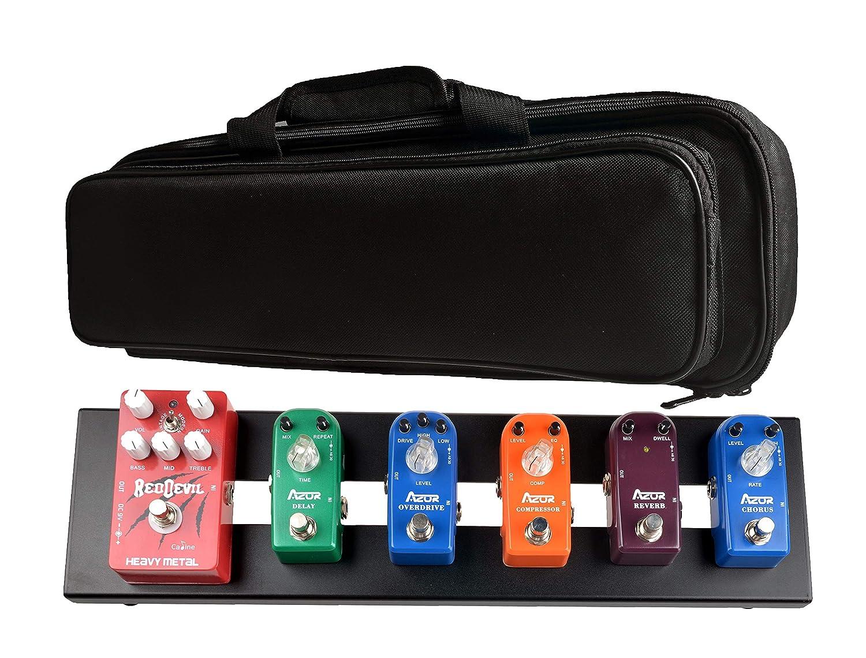 Azor Guitar Pedal Board AB-101 Aluminium Pedalboard 18.9'' x 4.9'' x 1.1'' with Bag AB101