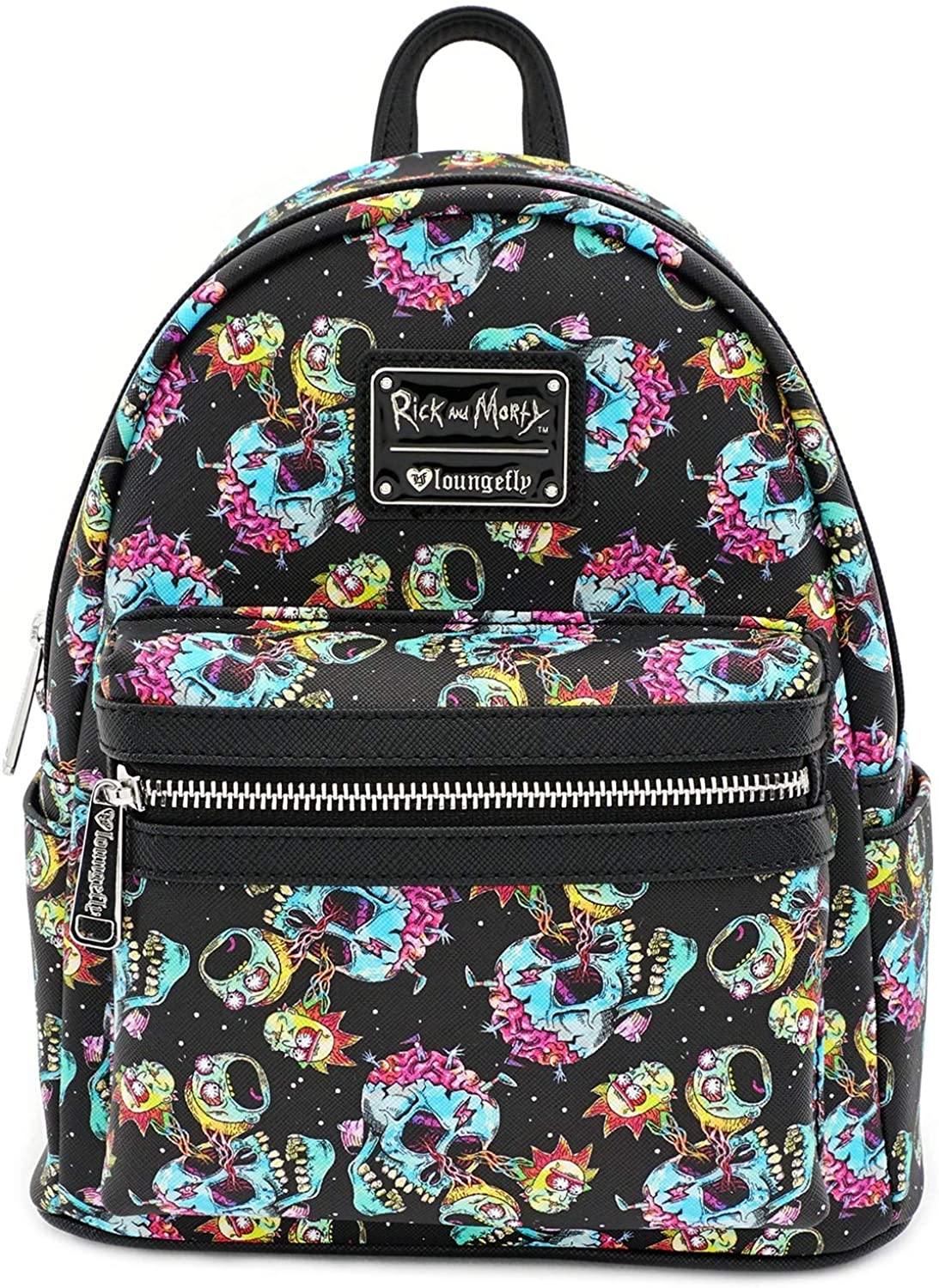 Loungefly x Rick and Morty Skull Heads All-Over Print Mini Backpack