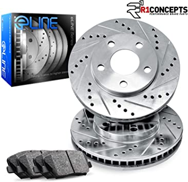 Duraplus Rear Premium Coated Cross Drilled Brake Rotors w//Ceramic Brake Pads