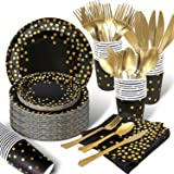 175PCS Black and Gold Party Supplies, Severs 25 Disposable Party Dinnerware, Gold Plastic Forks Knives Spoons and Golden Dot