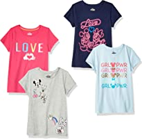 Spotted Zebra by Disney - Girls' Toddler & Kids Mickey and Minnie Mouse 4-Pack Short-Sleeve T-Shirts