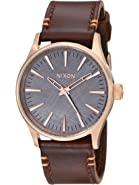 Nixon Men's A377 Sentry 38mm Stainless Steel Watch With Leather Band
