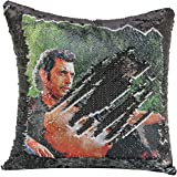 Merrycolor Sequin Pillow Cover Nicolas Cage Magic Reversible Mermaid Throw Pillow Cover for Couch Decorative Cushion Cover Funny Pillow Gifts 16 x 16 Inches (E Black)