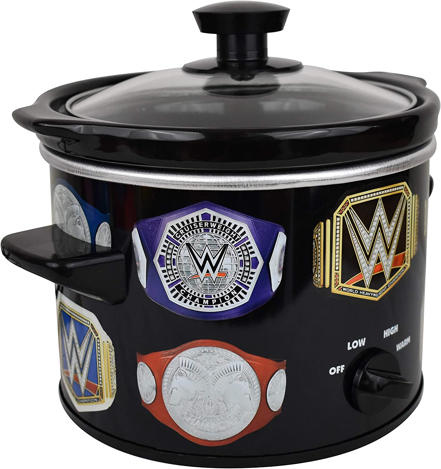 Uncanny Brands WWE Championship Belt 2 QT Slow Cooker- Removable Ceramic Insert Bowl
