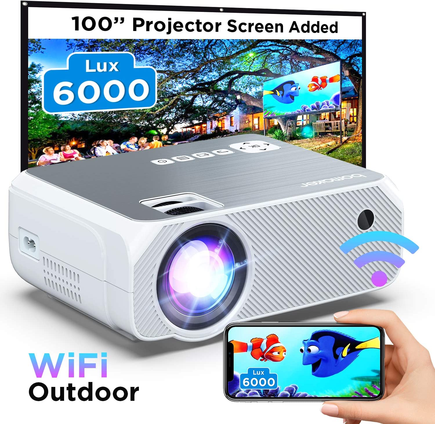 Wi-Fi Mini Projector, 6000 Lux, Bomaker Portable Projector for Outdoor Movies, Full HD 1080P Supported Outdoor Movie Projectors, Wireless Screen Mirroring, for iOS/Android/Laptops/Windows/PCs- White